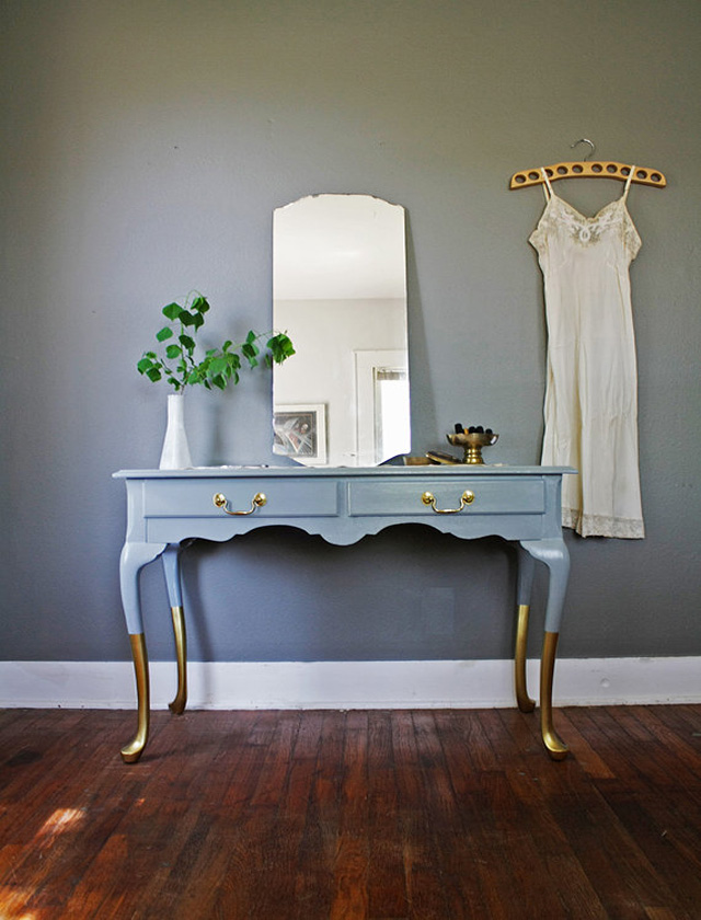 Loving this grey dresser with gold dipped legs from the Hayleon vintage shop in Etsy.com