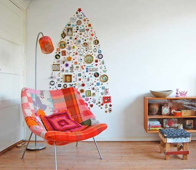 A tree made from different items collected and small decor found around the home was created for Apartment Therapy.
