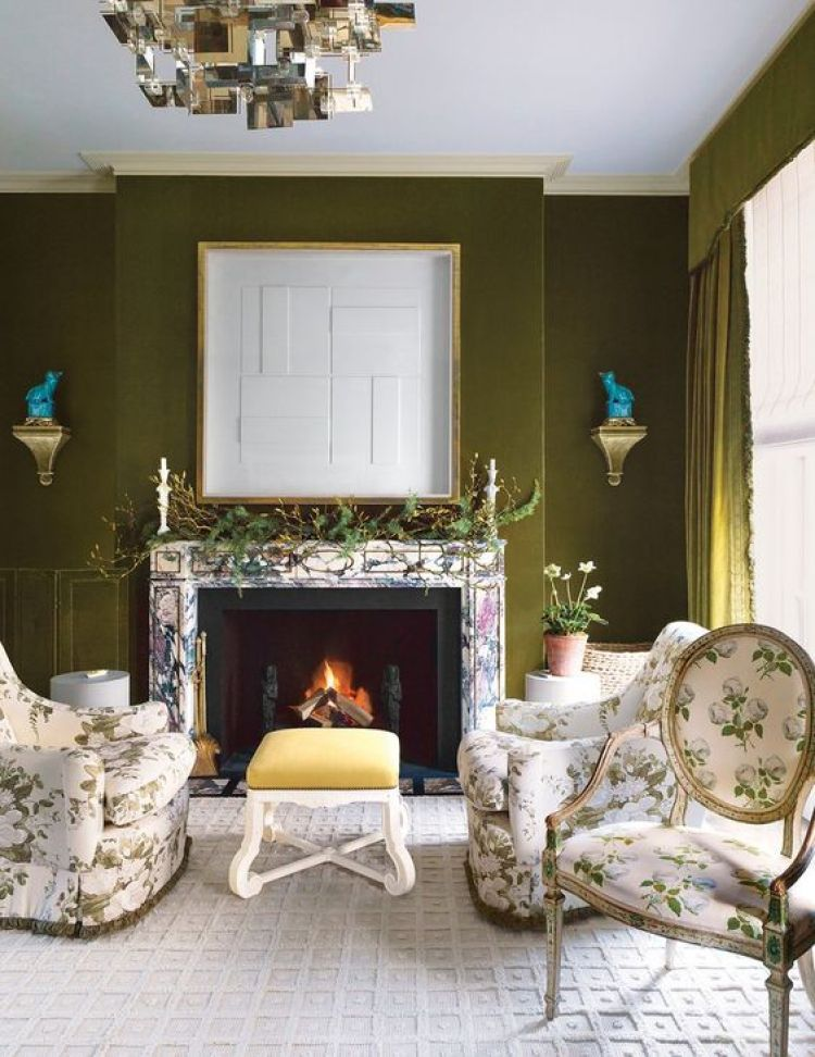 chintz and deep green are 2018 design trends