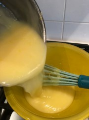 put the hot pie filling into a bow to cool