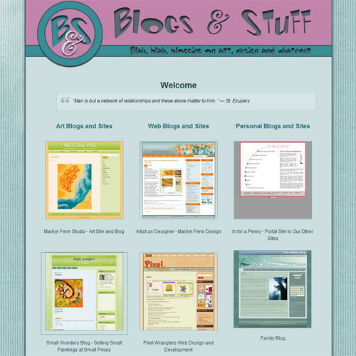 Blogs & Stuff webpage design, v2