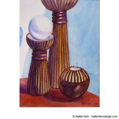 Still Life with Wooden Candle Holders