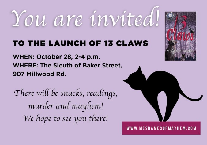 13 Claws Book Launch Invitation