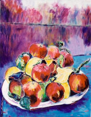 Apples in Autumn Landscape, 20x24