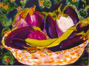 Basket of Eggplants 20x24