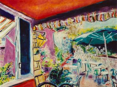Cafe in Corsica 30x40