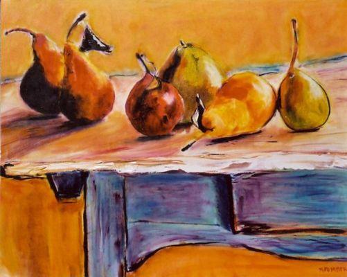 Harvest Pears on Blue Table - 20x24