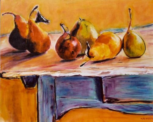 Harvest Pears on Blue Table - 20x24