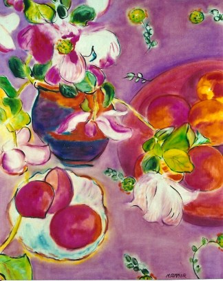 Still Life with Florals and Peaches-24x30