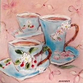 Three Blue Cups, 12x12