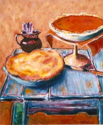 Two Pies on Turquoise Background