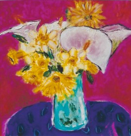 Bouquet on Purple Tablecloth 18x18