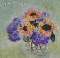 Hydraneas and Sunflowers 18x18
