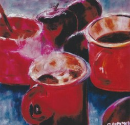 Steaming Cups with Red Apples 14x14