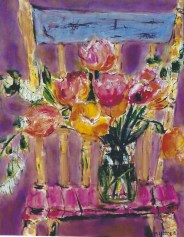 Tulips on Wooden Chair 18x24