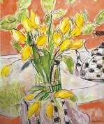 yellow tulips with kettle 20x24