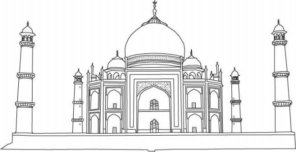 Contoh Gambar Mewarnai Sketsa Masjid Kataucap