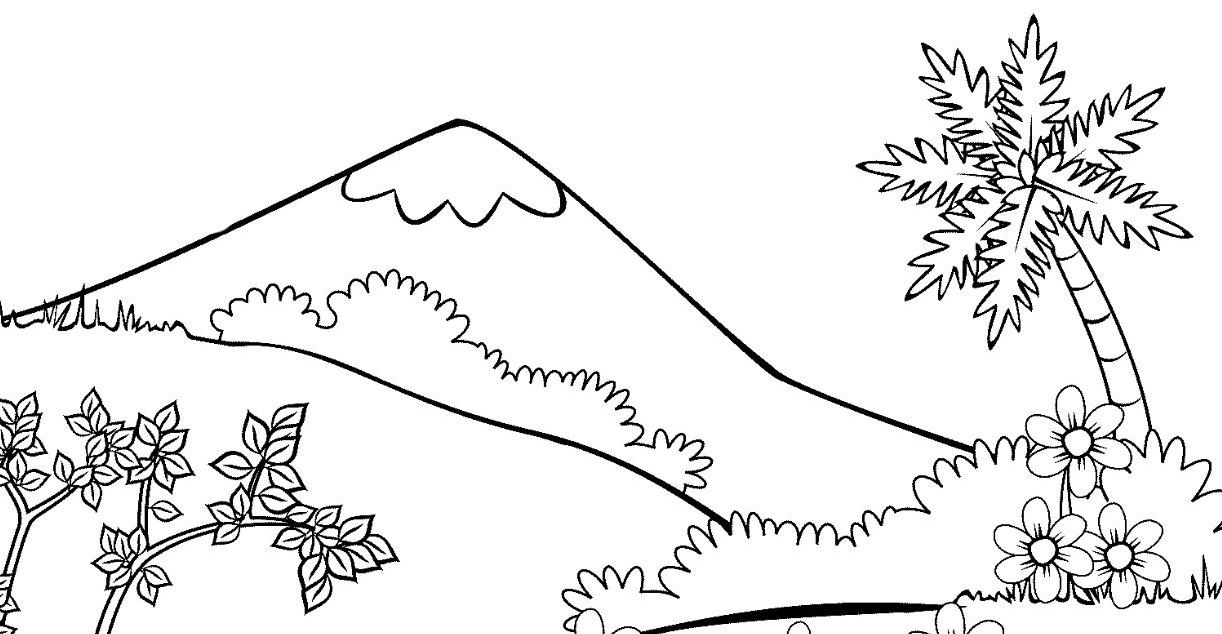 Gambar Pemandangan Gunung Anak Sd