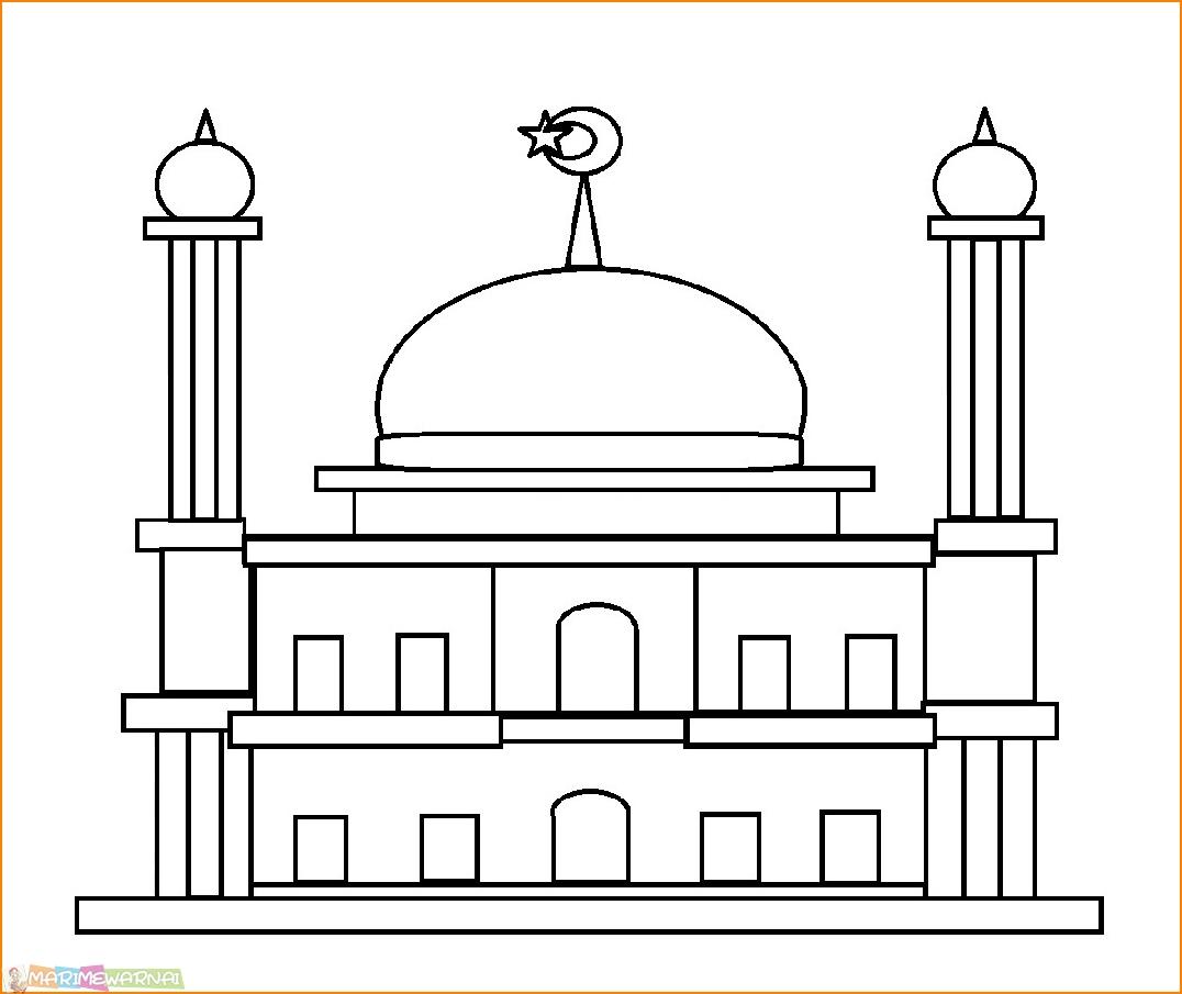 Mewarnai Gambar Sketsa Masjid Kartun Terbaru Kataucap