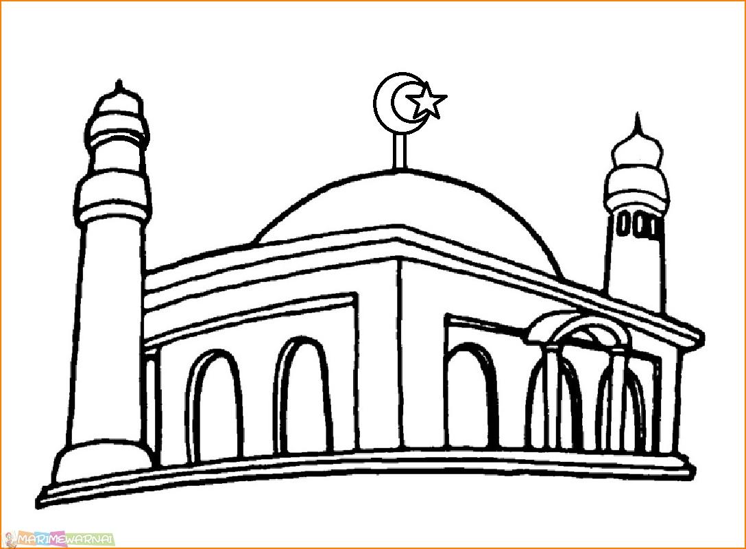 29 Gambar Mewarnai Masjid Nabawi Terlengkap 2018 Marimewarnai Com