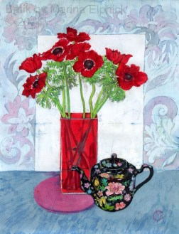 Anemones and black teapot, batik on cotton by Marina Elphick