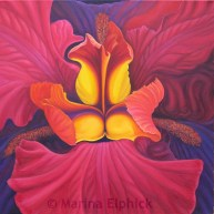 Red Louisiana, on canvas by Marina Elphick, painter and batik artist working in the UK