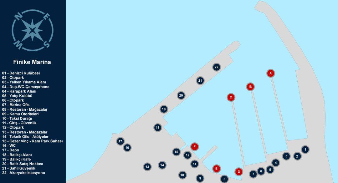 Finike Marina Yerleşim Planı