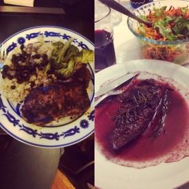 Steaks (mine is the gourmet-looking one =P )