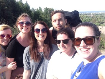 Halfway up the mountain, great views of Mendoza unfolded (Liz, Kelly, Adam, Miranda, me)