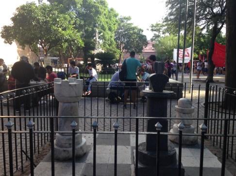A chess corner in Plaza San Martin