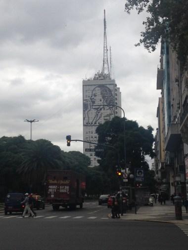 Building near San Telmo with Evita's likeness on the facade