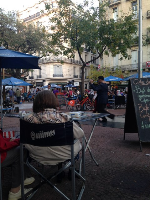 Taking a break at Plaza San Telmo, with tango performers in tow
