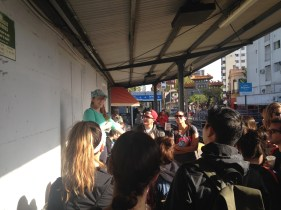 Madi, our expat guide, telling us about Tigre at the train station
