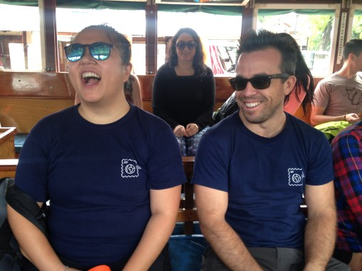 On the boat to the school we volunteered at (Anabelle, Eric)