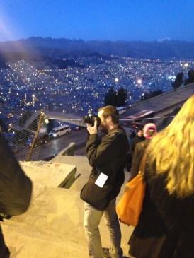 La Paz by night with Matt taking a photo