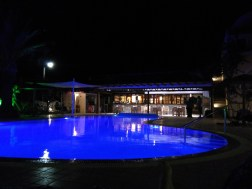 Our hotel pool by night