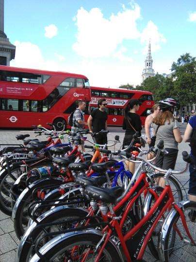Biking, London style (at Trafalgar Square)