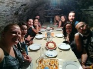 Wine cellar with the crew