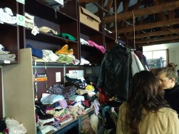 Volunteering: piles of clothes at Miksaliste