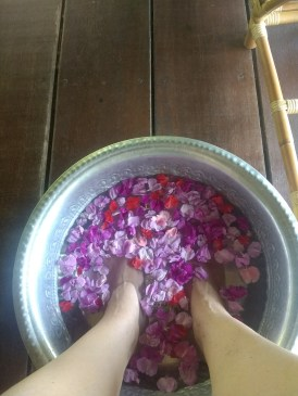 Getting ready for my foot reflexology