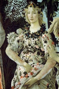 Detail of Primavera, by Botticelli. Marina's muses are inspired by artists models, individually hand made using fine cotton lawns and silks.