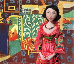 """Matisse muse, Lydia set in Interior with Aubergines"""" by H. Matisse."""
