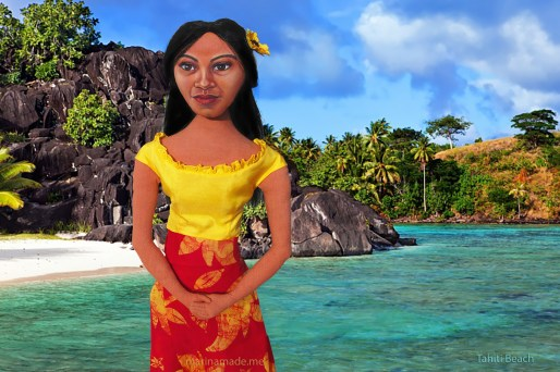 Marina's muse Teha'amana on the beach in Papeari.