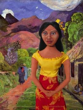 Marina's Art muse Teha'mana, on a road in Tahiti, by Paul Gauguin 1891.