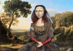 Mona Lisa in a Pastoral Landscape by Claude Lorrain. Mona Lisa muse sculpted in textiles by Marina Elphick.