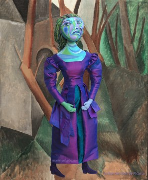 """Dora Maar muse set in Picasso's painting, """" La Rue des Bois"""", 1908. Dora Maar muse, designed and sculpted in textiles by artist, Marina Elphick. Picasso's paintings.Dora Maar, Picasso's muse and lover, Dora Maar was a renowned Surrealist photographer and artist herself."""