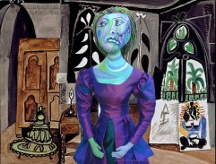 """Muse Dora Maar in Picasso's """"Studio in California"""", painted in 1956. Dora Maar muse, designed and sculpted in textiles by artist, Marina Elphick. Dora Maar, Picasso's muse and lover, was a talented photographer and artist herself."""