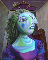 """Dora muse with """"Portrait de Femme"""",1942, Picasso. Dora Maar muse, designed and sculpted in textiles by artist, Marina Elphick. Dora Maar, Picasso's muse and lover, was a talented photographer and artist herself."""