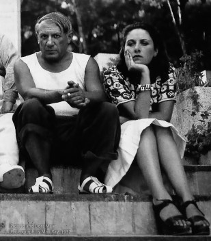 Pablo Picasso and Dora Maar photographed by Man Ray in 1937.