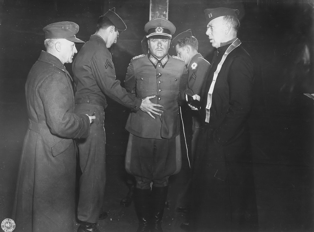 Nazi General Anton Dostler is tied to a stake before his execution by a  firing squad, 1945 - Marina Amaral